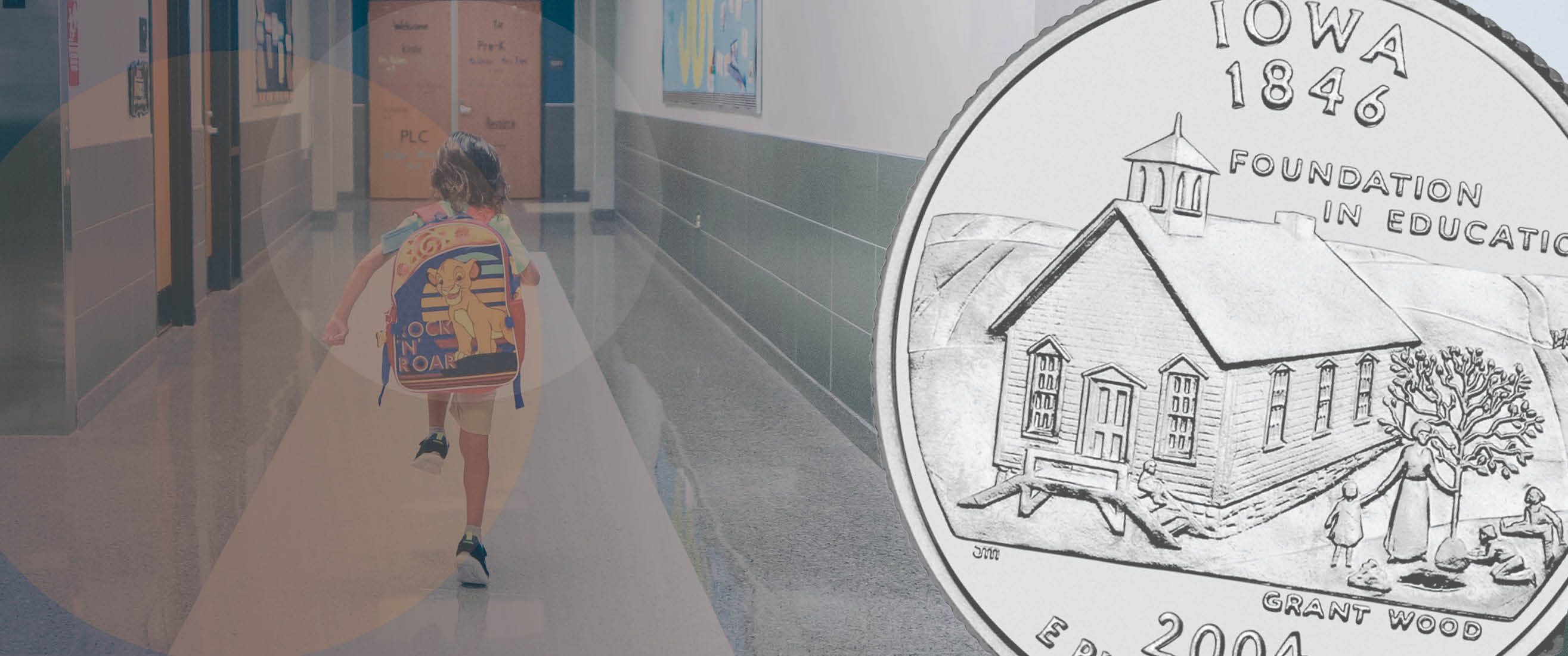 student in hallway, Iowa state quarter